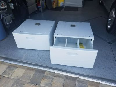 White washer/ dryer pedestals