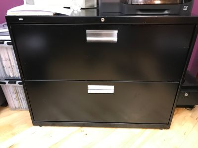 Classic black metal filing cabinet with 2 drawers