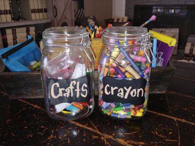 2 Large mason snap jars. Brand new. Chalk board front to label