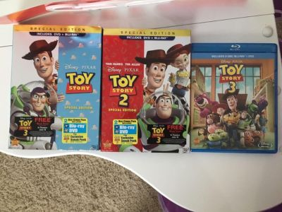 Like new Disney s Toy Story 1 , 2 , 3 Blu-ray and dvd