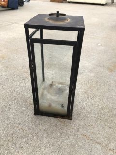 Large outdoor glass candle lantern