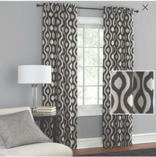 Mainstays Grey Wave Curtains 2 sets with rods