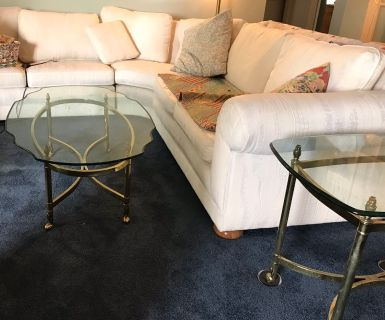 Elegant Glass Top Coffee Table & Side Table