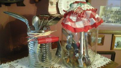 Vintage Pickle Jar & Glass container Filled w/Antique Kitchen Utensils-Assemble by Crafter