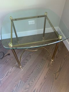 2 Glass and Brass End Tables (Used)