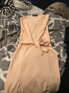 Small size 4 deep v dress/ two from slits / soft pink color