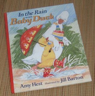 Vintage 1995 In The Rain with Baby Duck Over Sized Hard Cover Book w Dust Jacket