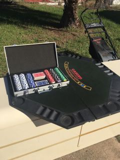 Poker set and six sided poker table top