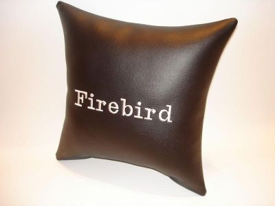 Sell vintage custom made PONTIAC FIREBIRD car show pillow black with white emblem motorcycle in Bartlesville, Oklahoma, US, for US $9.95