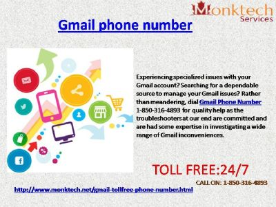 Get rid of Problems with Gmail Phone Number like Never Before@ 1-850-316-4893