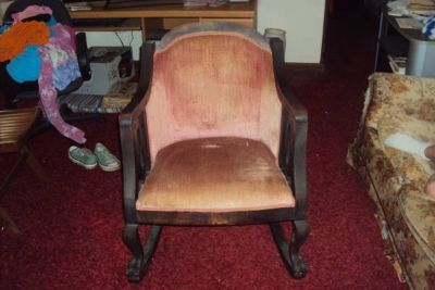 Victorian Style Arm Chair - Pink Velvet/Mahogany - Early 1900s OBO