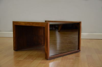 Solid Walnut with Bronze Mirrored Side Table