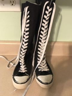 Knee high lace up converse