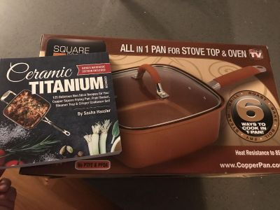 New in Box 5 Piece Copper Pan and Cookbook