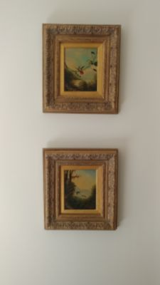Antique bird paintings