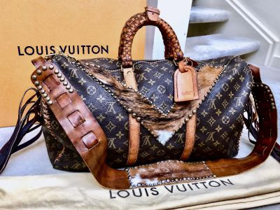 Louis Vuitton Keepall Bandouliere 50 Duffel Upcycled One of a kind