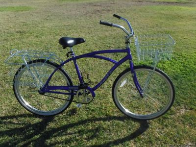 """Christopher Metcalfe Creations Huffy Mission Bay 26"""" Men's Classic Cruiser with Wald Baskets"""
