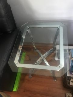 Glass cocktail table, end table and sofa table