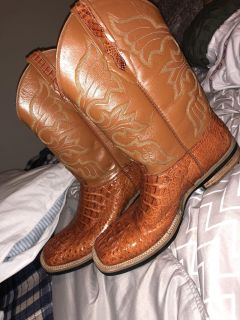 10 1/2 brown alligator boots for 500 or best offer customized made never been used