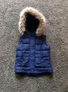Limited Too Navy Vest with Detachable Hood and two front pockets. Size 8.