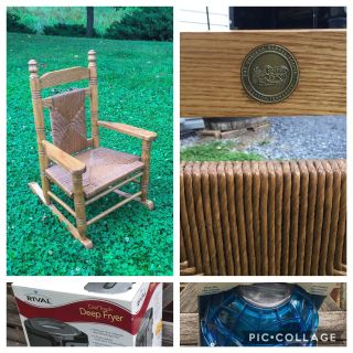 Cracker Barrel Hardwood Woven Child Rocking Chair, nice condition, asking $60 (cost $120)