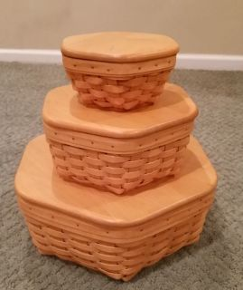 Longaberger Generations Baskets with protectors and wood lids