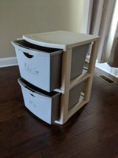 plastic tote with two drawers