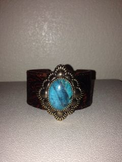 Genuine Turquoise and leather cuff