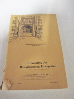 Vintage Accounting for Manufacturing Enterprises Book (1948)