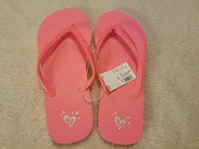 NWT Justice brand Flip Flops Size 8/9