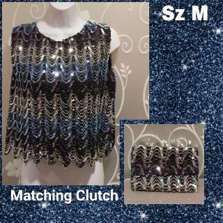 WOMENS CUSTOM MADE FORMAL SEQUIN TOP SIZE M WITH MATCHING CLUTCH PURSE
