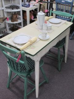 Vintage Small Porcelain Top Table With 2 Chairs