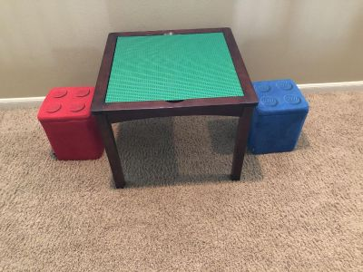 2 in 1 LEGO & art table with LEGO block storage chairs
