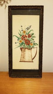 Hand stenciled on cloth,framed in a vintage frame gives the one of a kind look we want in our homes