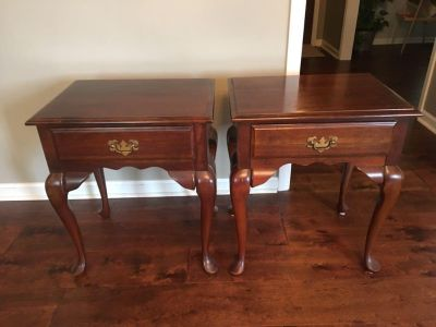 Pair of Cherry Queen Anne End Tables