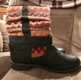 cloth & leather scrunch Booties