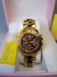 Invicta Angel Multi-Function Brown Dial Gold-plated Tortoise-shell Ladies Watch (NEW)