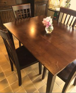 Wood Table with 4 Chairs Set
