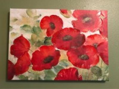 canvas floral wall hanging