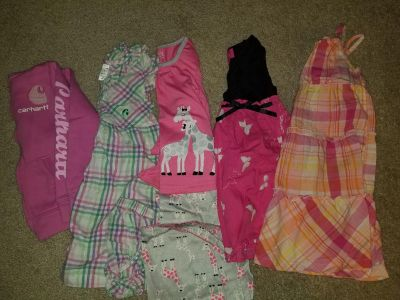 4t carhart jacket and dress, pjs and 2 dresses
