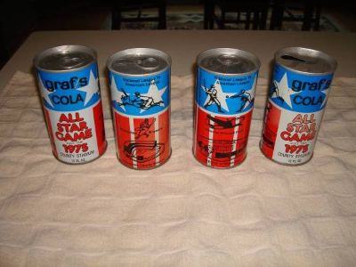 Graf's Cola Steel Soda Cans 1975 All Star Game County Stadium Brewers