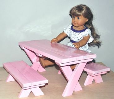 "Doll Picnic Table (Fits 18"" dolls) - On Sale"