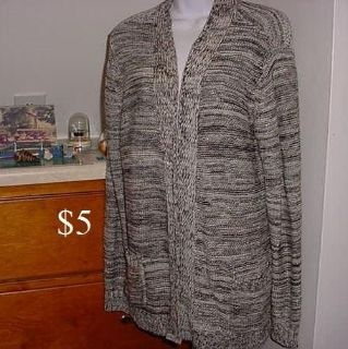 Brand New With Tags. Studio Works Long Sleeve Knitted Cardigan Size XL. Features A Beautiful Gray, Tan, Black & Silver Metallic thought...