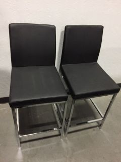 Bar Stools- Black with Chrome Legs