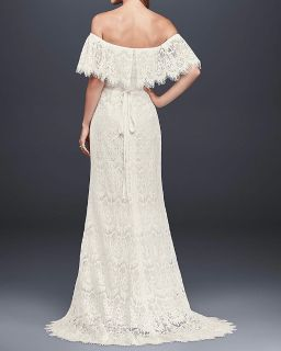 Ivory off-the-shoulder eyelash lace sheath wedding dress. Size 12. Simple veil and embellished belt included.