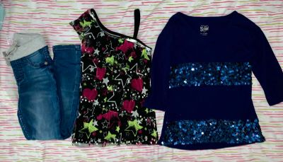 2 Justice Tops, 1 Justice Straight Legged Jeans w/drawstring & all are Sz 7