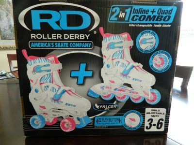 RD Roller Derby 2 in 1 Inline & Quad Combo Girls Size 3-6