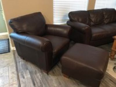 Leather sofa, chair, and ottoman