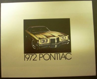 Buy 1972 Pontiac Sales Brochure Grand Prix Catalina LeMans GTO Firebird Trans Am 72 motorcycle in Holts Summit, Missouri, United States, for US $16.72