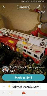 Toy fire truck. Still makes sounds.